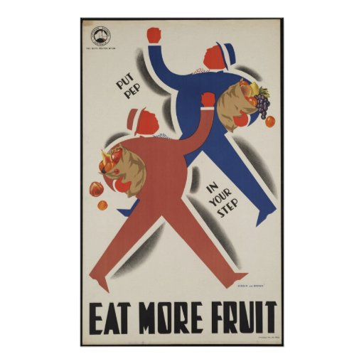 Eat More Fruit Vintage Travel Poster Ad Retro