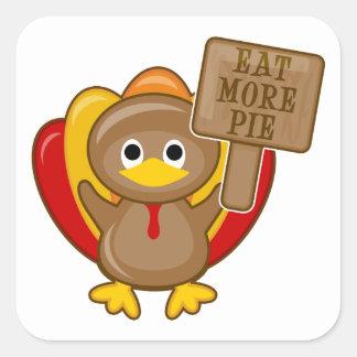 Eat More Pie Turkey Square Sticker