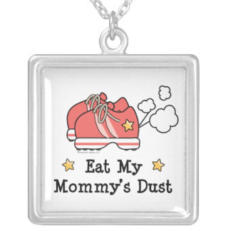 Eat My Mommy's Dust Sterling Silver N Square Pendant Necklace