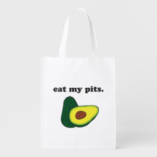 eat my pits. (avocado) grocery bag