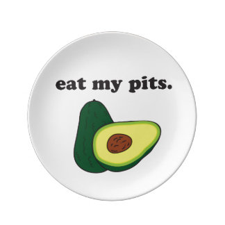 eat my pits. (avocado) porcelain plates