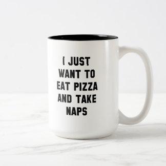 Eat Pizza And Take Naps Two-Tone Coffee Mug