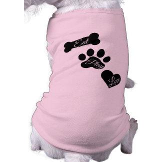 Eat Play Love Dog Paw Print Bone and Heart Tee