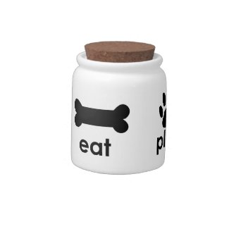 Eat Play Love Pet Treats Jar Candy Dish