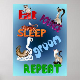 Eat Pounce Sleep Groom Repeat Poster