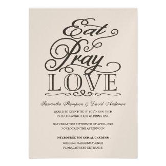 Eat Pray Love black  Modern Script Wedding Invite
