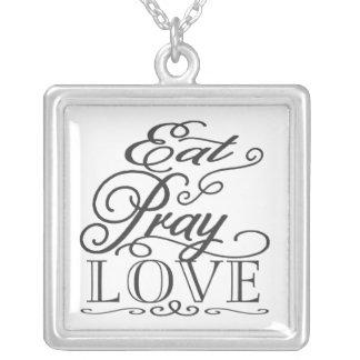 Eat Pray Love Black & White Typography Favor Square Pendant Necklace