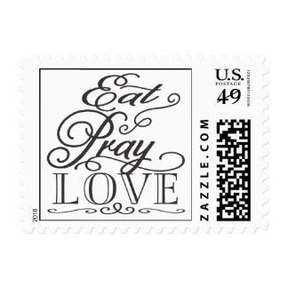 Eat Pray Love Modern Script Wedding USPS Stamp
