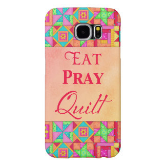 Eat Pray Quilt Colorful Patchwork Block Art Samsung Galaxy S6 Cases