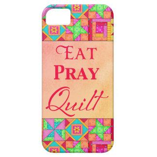 Eat Pray Quilt Colorful Patchwork Block Art iPhone 5 Cases