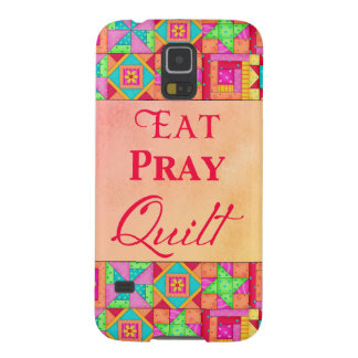 Eat Pray Quilt Colorful Patchwork Block Art Case For Galaxy S5