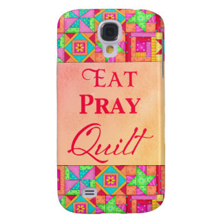 Eat Pray Quilt Colorful Patchwork Block Art Galaxy S4 Case
