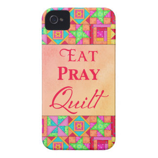 Eat Pray Quilt Colorful Patchwork Block Art iPhone 4 Case