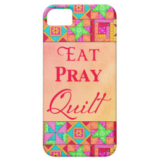Eat Pray Quilt Colorful Patchwork Block Art iPhone 5 Cover