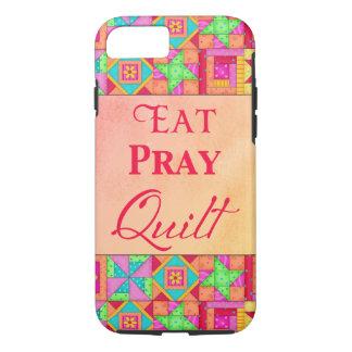 Eat Pray Quilt Colorful Patchwork Block Art iPhone 7 Case