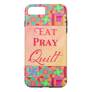 Eat Pray Quilt Colorful Patchwork Block Art iPhone 8 Plus/7 Plus Case