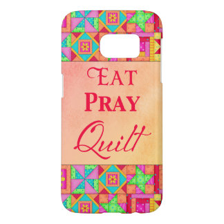 Eat Pray Quilt Colorful Patchwork Block Art Samsung Galaxy S7 Case