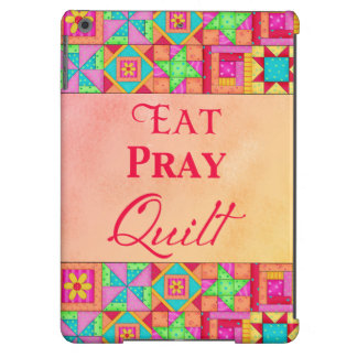 Eat Pray Quilt Red Coral Patchwork Block Art iPad Air Cover