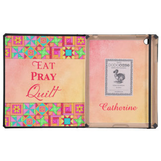 Eat Pray Quilt Red Coral Patchwork with Name iPad Folio Cases