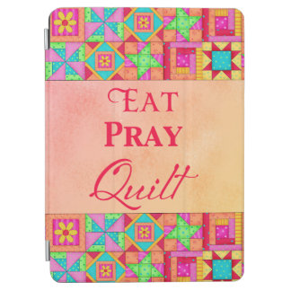 Eat Pray Quilt Words Coral Patchwork Block Art iPad Air Cover