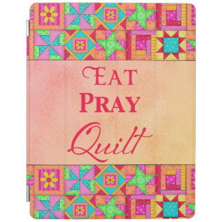 Eat Pray Quilt Words Coral Patchwork Block Art iPad Cover