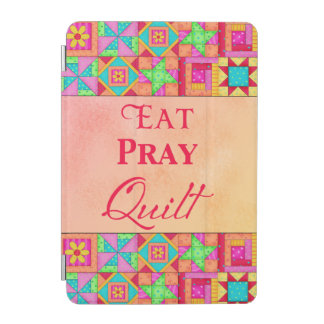 Eat Pray Quilt Words Coral Patchwork Block Art iPad Mini Cover