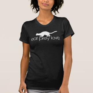 eat prey love black ringer white type t-shirts
