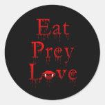 Eat Prey Love Round Stickers