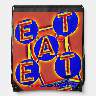 eat red and blue drawstring backpack
