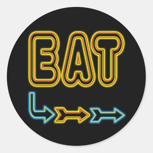 Eat Retro Neon Sign Art Classic Round Sticker