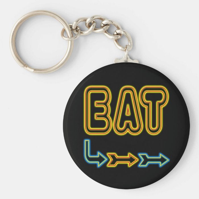 Eat Retro Neon Sign Art Keychain