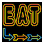 Eat Retro Neon Sign Art Print
