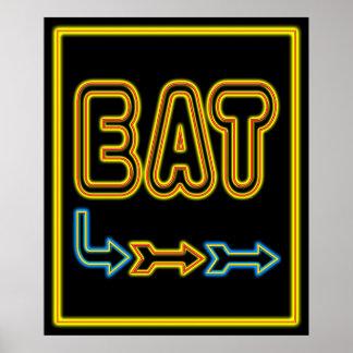 Eat Retro Restaurant Neon Sign Art Print