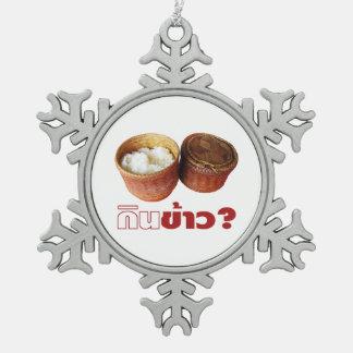 Eat Rice? [Gin Khao?] ... Thai Isan Lao Food Snowflake Pewter Christmas Ornament