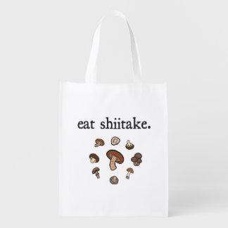 eat shiitake. (mushrooms) reusable grocery bags