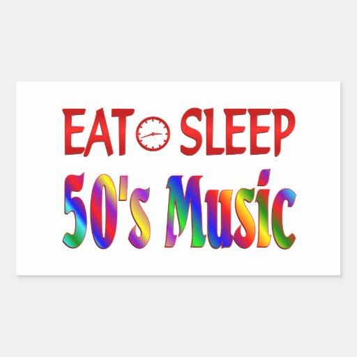 Eat Sleep 50's Music Rectangle Stickers