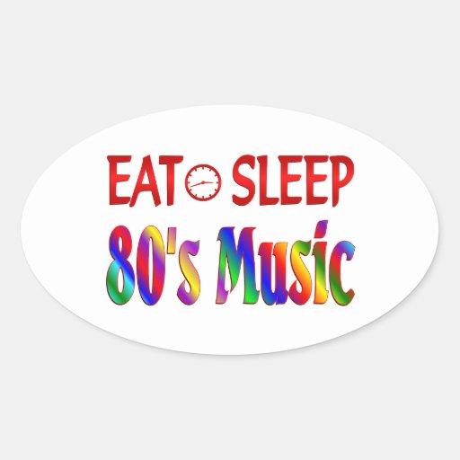 Eat Sleep 80's Music Oval Sticker