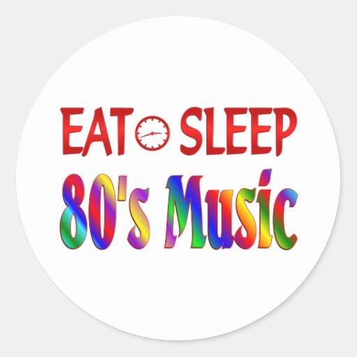 Eat Sleep 80's Music Round Sticker