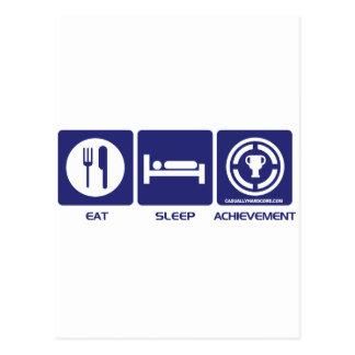 Eat Sleep Achievement Postcard