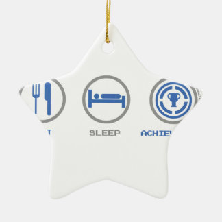EAT SLEEP ACHIEVEMENT UNLOCKED CERAMIC ORNAMENT