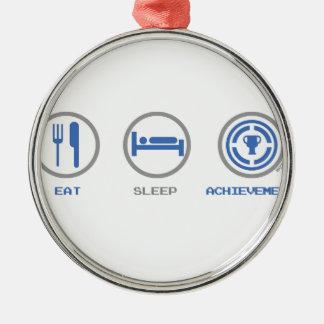 EAT SLEEP ACHIEVEMENT UNLOCKED METAL ORNAMENT