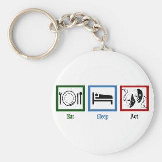 Eat Sleep Act Basic Round Button Keychain