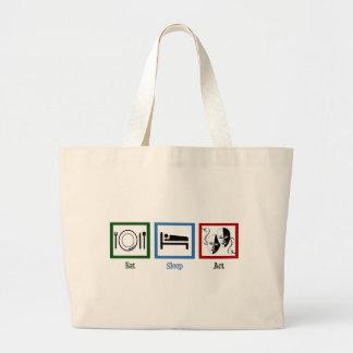 Eat Sleep Act Large Tote Bag