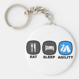 Eat. Sleep. Agility. Blue. Basic Round Button Keychain