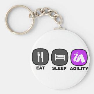 Eat. Sleep. Agility. Purple. Basic Round Button Keychain