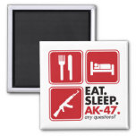 Eat Sleep AK-47 - Red 2 Inch Square Magnet