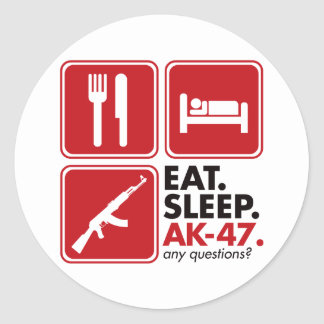 Eat Sleep AK-47 - Red Classic Round Sticker