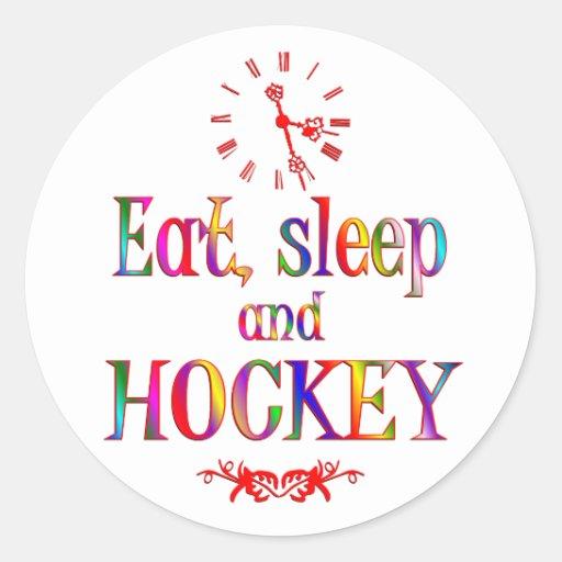 Eat, Sleep and Hockey Round Stickers