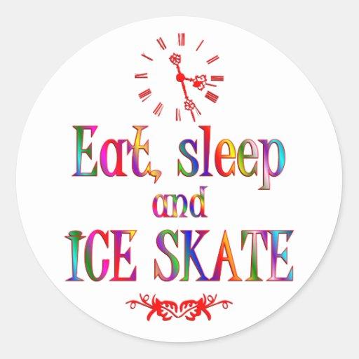 Eat, Sleep and Ice Skate Round Stickers