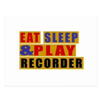 Eat Sleep And Play RECORDER Postcard